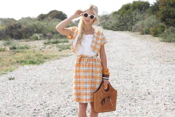 VTG 50s Orange Plaid Dress w/ Waist Tie & Matching Jacket S/M