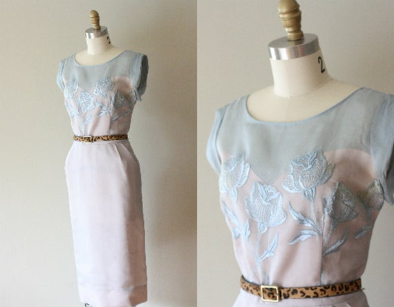VTG 50s Light Blue Sheer Dress w/ Floral Embroidery L/XL