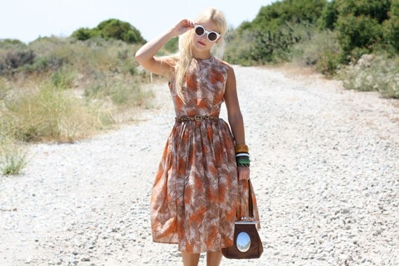 VTG 50s Brown & Orange Brushstroke Dress w/ Full Skirt XS