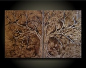 Love Tree Set/ Earth- 30x48 Unique Sculptural Abstract Set of original paintings