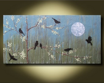 Blossom Under the Moon- 24x48 Unique Contemporary Sculptural Painting