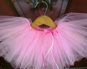 Pink Daydream. Soft pink tutu with ivory and hot pink ribbon. Newborn to 3T.