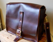 Handmade messenger bag in dark brown