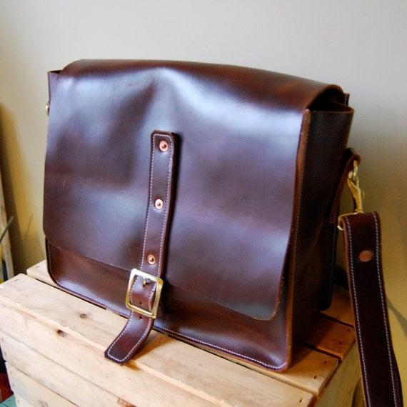 Handmade messenger bag in dark brown
