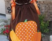 Custom Boutique Baby Toddler Girls Fall Pumpkin Thanksgiving Pillowcase Dress