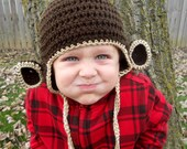 Kids or Adult Monkey Crochet Earflap Hat - Childrens Accessories by Julian Bean