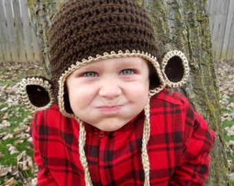 Kids or Adult Monkey Crochet Earflap Hat - Childrens Accessories by Julian Bean