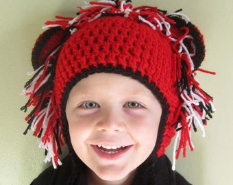 Red Black and White Kids Lion Crochet Earflap Hat - Childrens Accessories by Julian Bean