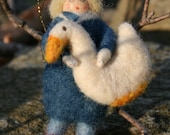 Boy and his Goose - Needle Felted  Decor