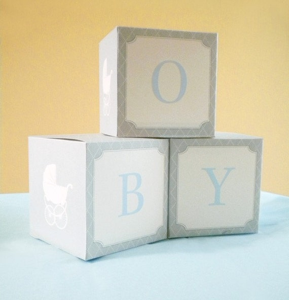 DIY PRINTABLE Baby Shower Paper Blocks Vintage Stroller