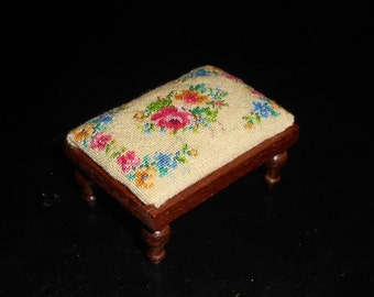 """MAKE TO ORDER Dollhouse Miniature Footstool Needlepoint Petit Point """"Victorian Bouquet"""" 1/12th scale"""