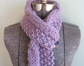 LAST ONE 15% off - Lavender Cashmerino Cable Twist Scarf - Very long cashmere and merino wool handknit scarf