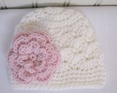 Crochet Girls Hat - Baby Hat - Toddler Hat - Winter Hat - Spring Hat - White with Pink Flower - Available in sizes Newborn to 3 Years