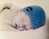 Crochet Boys Hat - Baby Hat - Newborn Hat - Baby Boy Hat - Hot Blue Hat - in sizes Newborn to 6 Months