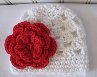 Crochet Girls Hat - Baby Hat - Newborn Hat - Toddler Hat - Christmas Hat - White with Red Flower - in sizes Newborn to 3 Years