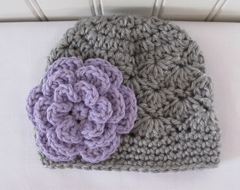 Crochet Girls Hat - Baby Hat - Toddler Hat - Winter Hat - Newborn Hat - Light Gray (Grey) with Purple Flower - in sizes Newborn to 3 Years