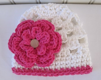 Crochet Girls Hat - Baby Hat - Toddler Hat - Newborn Hat - White and Hot Pink with Hot Pink Flower - in sizes Newborn to 3 Years