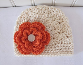 Baby Hat - Crochet Hat - Girls Hat - Fall Hat - Toddler Hat - Fall Hat- Winter Hat - Newborn Hat - Off White Hat - Cream Hat - Orange Flower