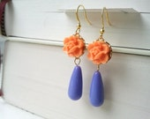 Lotus Flower Earrings in Orange with Bright Lilac Purple Teardrops (FREE SHIPPING)