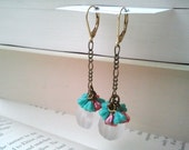 Color Bomb Chain Drop Earrings in Turquoise and Fuschia Pink  (FREE SHIPPING)