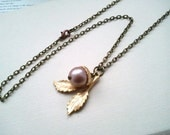 Acorn Necklace with Swarovski Pearl in Almond (Free Shipping)