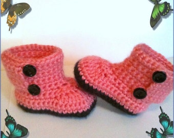 Button Baby Boots - 0-12 months- made to order