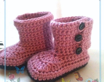 Button Baby Boots 0-12 months- made to order