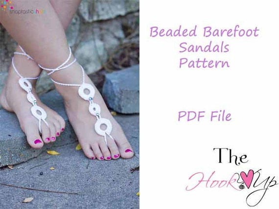 Beaded Barefoot Sandals- CROCHET PATTERN- permission to sell finished product-