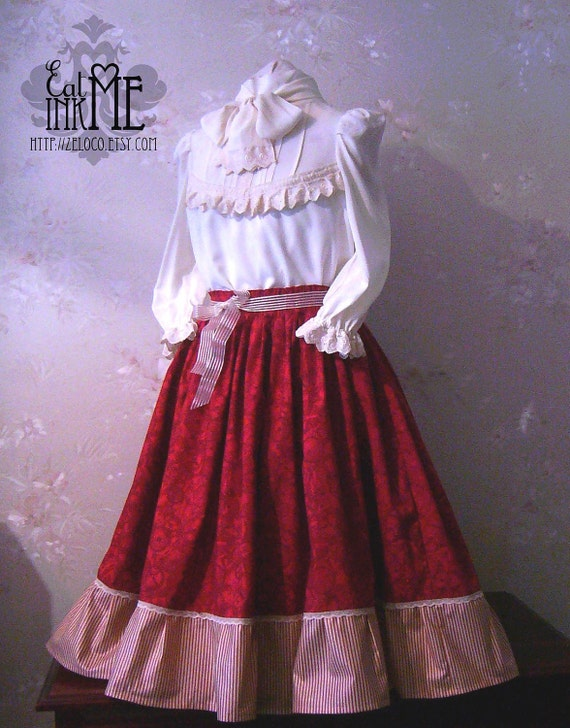 Red gears and stripes lolita skirt tea length