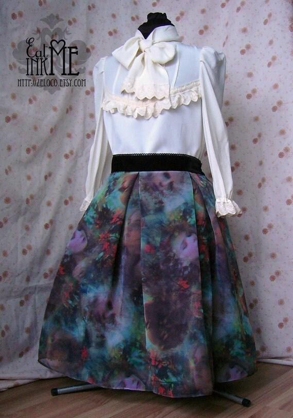 RESERVED Fairy Forest chiffon overlay lolita skirt