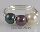 Silver Wrapped Wire Pearl Ring, Three Swarovski Pearls Cream, Burgundy, Tahitian, Triple Pearl Ring, Custom Pearl Ring