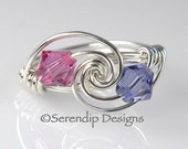 Mothers Ring, Grandmothers Birthstone Ring, Argentium Sterling Silver and 2 Swarovski Crystals mr2-6
