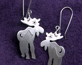 Sterling Silver Moose Earrings with Cutout Mountains and Night Sky