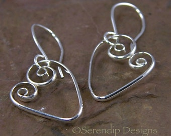 Silver Spiral Heart Earrings, Shiny Silver Heart Earrings, Argentium Sterling Silver Valentine Hearts   SE14