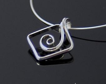 Square Spiral Silver Pendant, Shiny Argentium Sterling Silver Spiral Necklace, Geometrical Spiral Pendant SN58