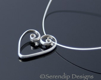 Silver Spiral Heart Pendant, Shiny Argentium Sterling Silver Heart Necklace, Valentine Necklace SN14