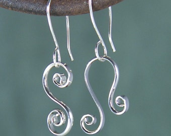 Argentium Asymmetrical Spiral Earrings, Mix Match Shiny Silver Earrings, MisMatched Sterling Earrings SE25