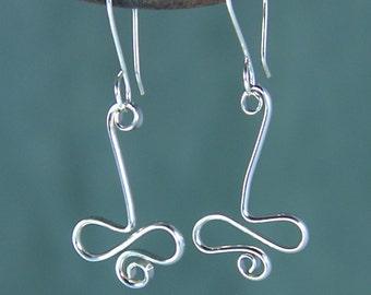 Shiny Silver Drop Earrings, Argentium Sterling Silver Squiggle Earrings, Wavy Spiral Earrings  SE51