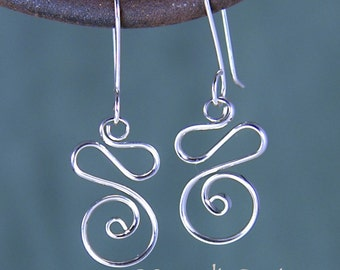Silver Spiral Squiggle Earrings,  Wavy Silver Circle Earrings, Shiny Silver Ocean Wave Earrings SE56