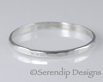 Argentium Sterling Silver Stacking Ring, Hammered Sterling Silver Ring, Rustic Stacking Ring ah1