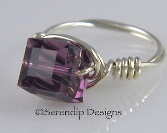 February Birthstone Ring, Argentium Sterling Silver Swarovski Crystal Cube Amethyst Ring, Statement Ring