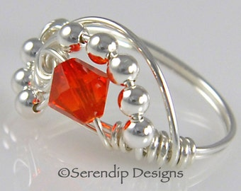 Wire Wrapped Ring, Argentium Sterling Silver Swarovski Fire Opal Ring, Crystal Galaxy Ring