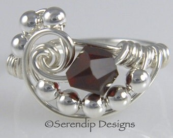 January Birthstone Ring, Wire Wrapped Argentium Sterling Silver Swarovski Garnet Ring, Crystal Galaxy Statement Ring