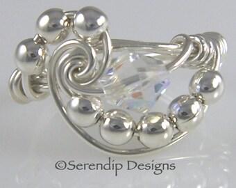 April Birthstone Ring, Sterling Silver Swarovski Clear Crystal AB Galaxy Argentium Silver Ring, Shiny Rainbow AB Clear Crystal Ring