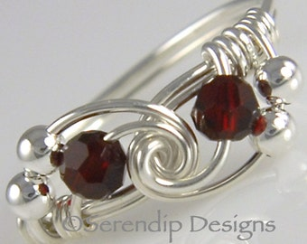 Sterling Silver Wrapped Twist Ring, Swarovski Crystal Garnet, Red Argentium Silver Ring