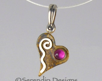 Silver Tiny Heart Pendant with Ruby and Silver Spiral, July Birthstone Valentine Heart Necklace