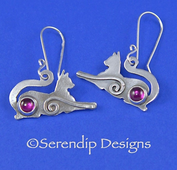Regal Silver Cat Earrings with Rubys and Spirals