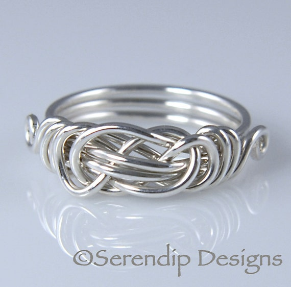 Sterling Silver Knot Ring, Celtic Knot Ring, Lovers Knot Ring in Your Size, Custom Ring