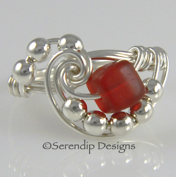 Wire Wrapped Ring, Sterling Silver Red Beach Glass Cube, Galaxy Argentium Silver RIng