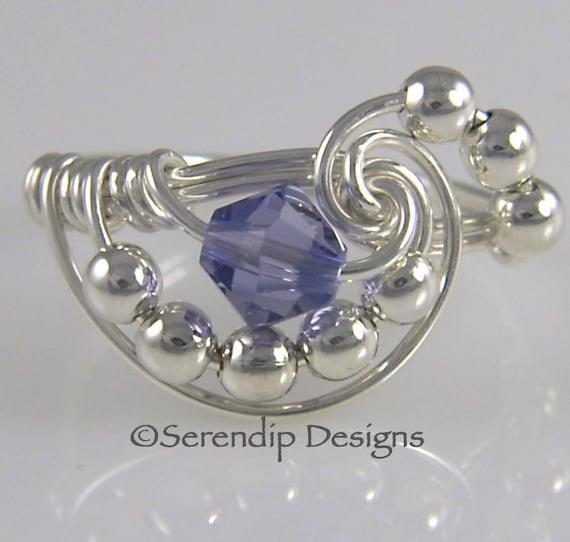 Silver Tanzanite Cluster Ring, Sterling Silver Swarovski Tanzanite Crystal Galaxy Statement Ring, Argentium Silver Ring